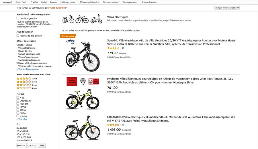 Achat vélo électrique Amazon